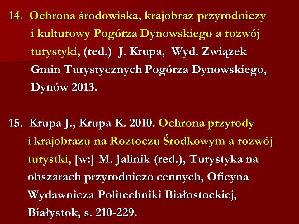 14. Ochrona środowiska, krajobraz przyrodniczy i kulturowy Pogórza Dynowskiego a rozwój i kulturowy Pogórza Dynowskiego a rozwój turystyki, (red.) J.