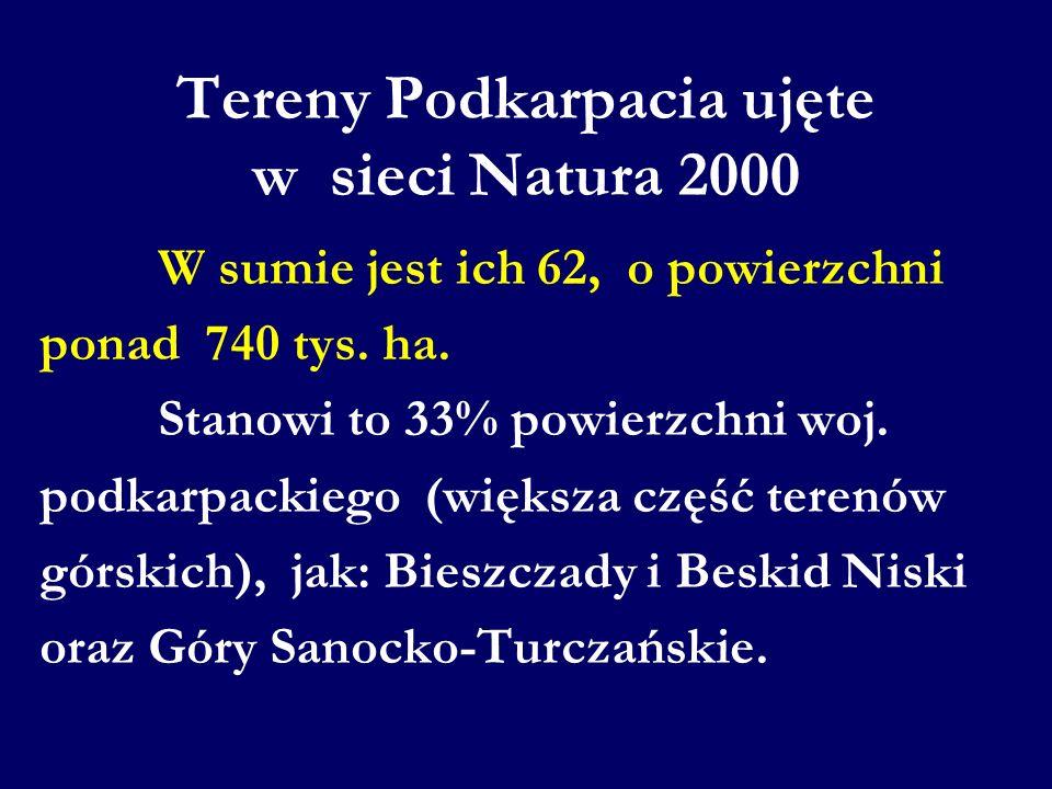 Tereny Podkarpacia ujęte w sieci Natura 2000 W sumie jest ich 62, o powierzchni ponad 740 tys. ha. Stanowi to 33% powierzchni woj. podkarpackiego (wię