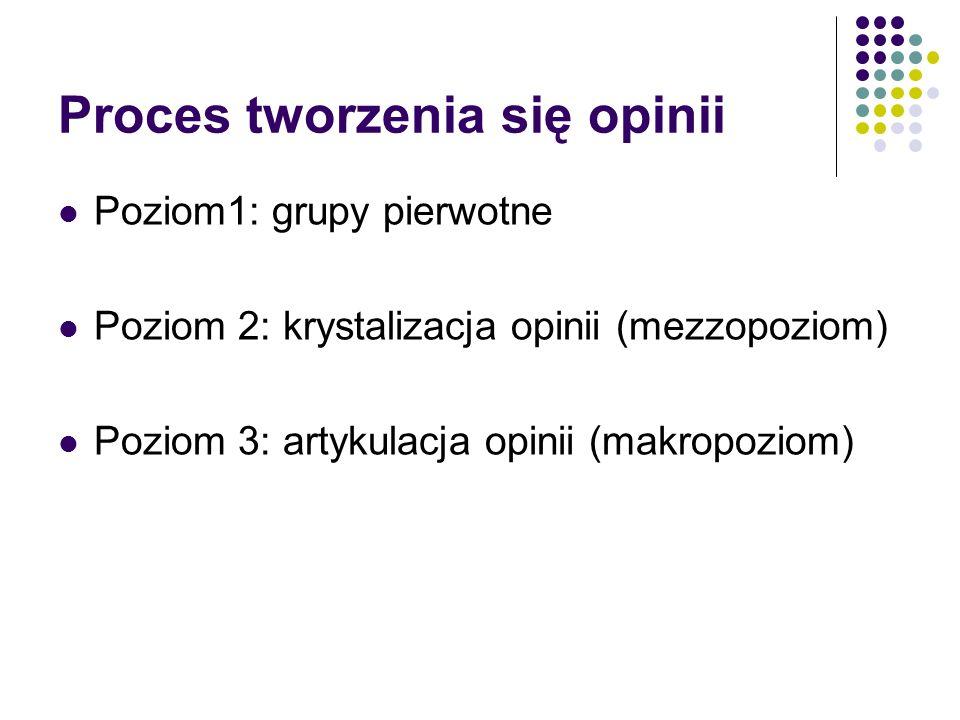 Proces tworzenia się opinii Poziom1: grupy pierwotne Poziom 2: krystalizacja opinii (mezzopoziom) Poziom 3: artykulacja opinii (makropoziom)