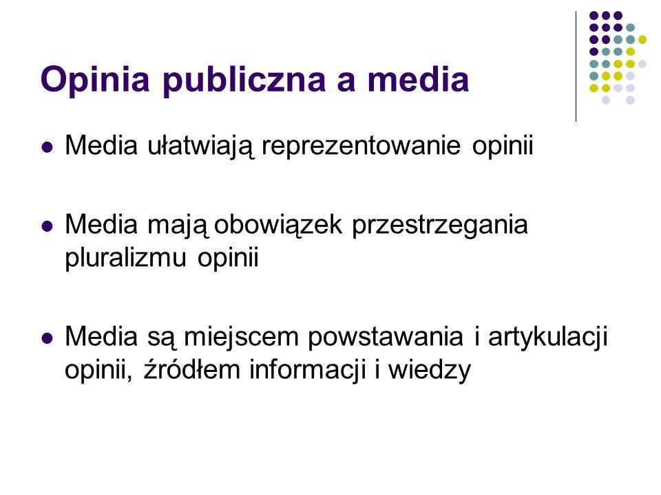 Opinia publiczna a media Media ułatwiają reprezentowanie opinii Media mają obowiązek przestrzegania pluralizmu opinii Media są miejscem powstawania i artykulacji opinii, źródłem informacji i wiedzy