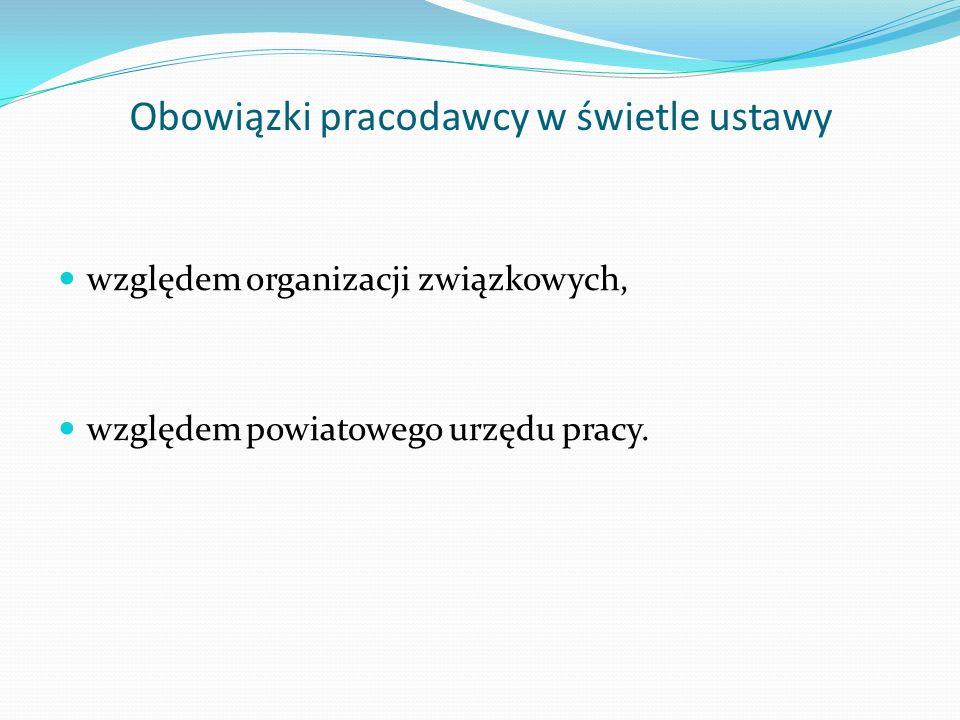 Obowiązki pracodawcy w świetle ustawy względem organizacji związkowych, względem powiatowego urzędu pracy.