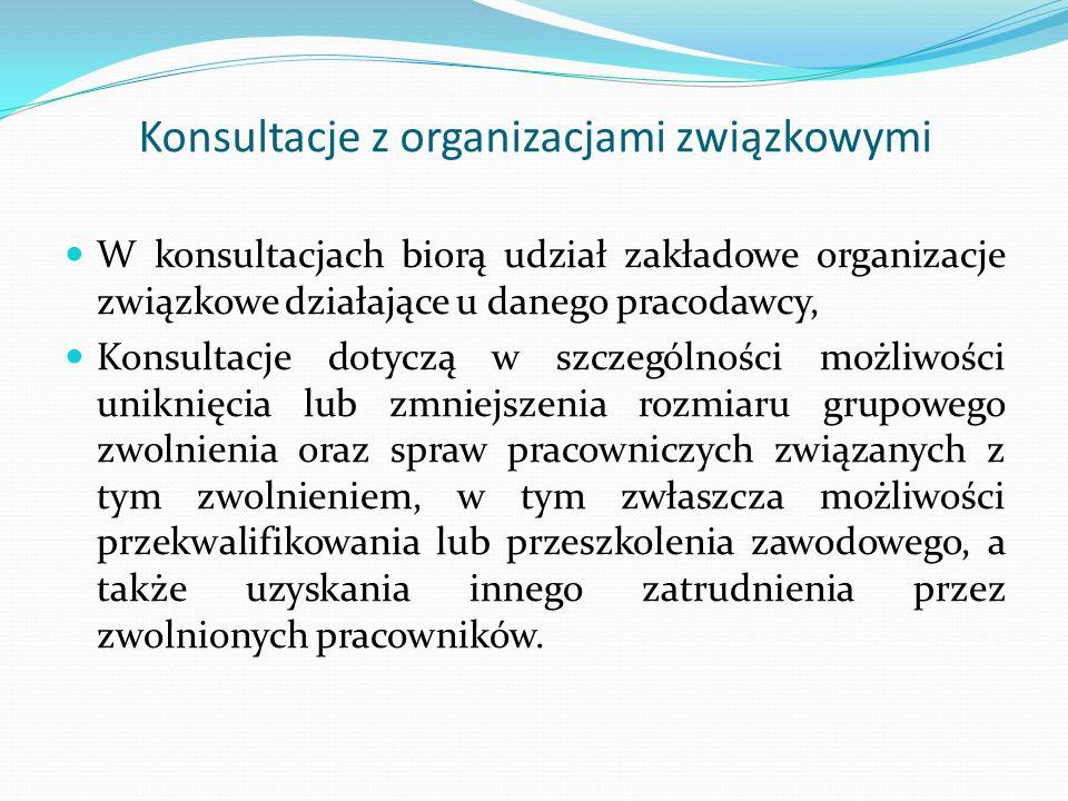 Konsultacje z organizacjami związkowymi W konsultacjach biorą udział zakładowe organizacje związkowe działające u danego pracodawcy, Konsultacje dotyc