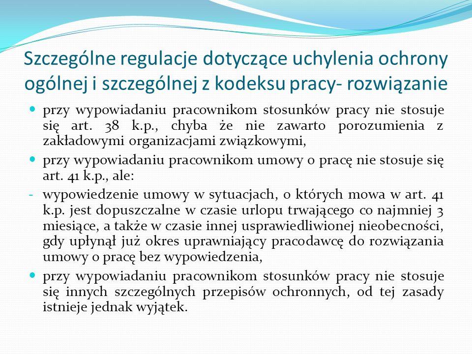 Wyjątek od zasady derogacji przepisów ochronnych Pracownikom: - o których mowa w art.
