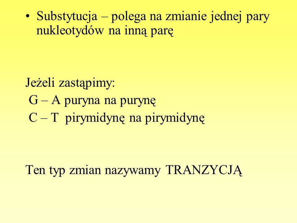 Substytucja – polega na zmianie jednej pary nukleotydów na inną parę Jeżeli zastąpimy: G – A puryna na purynę C – T pirymidynę na pirymidynę Ten typ z
