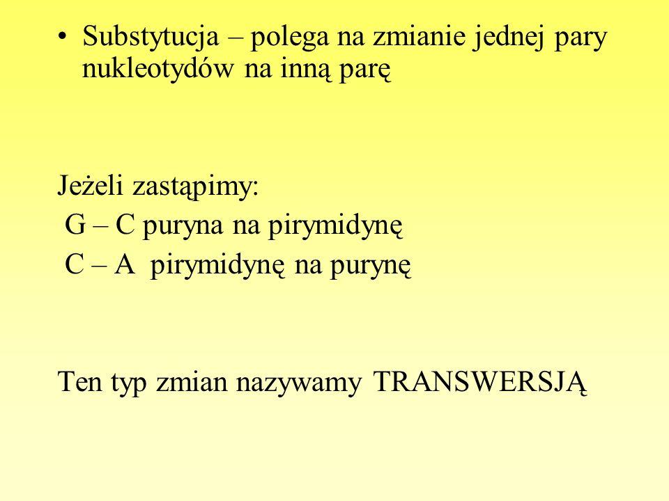 Substytucja – polega na zmianie jednej pary nukleotydów na inną parę Jeżeli zastąpimy: G – C puryna na pirymidynę C – A pirymidynę na purynę Ten typ z