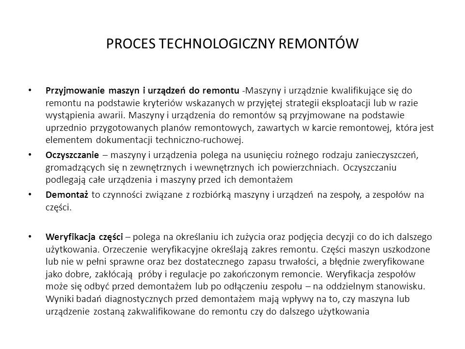 PROCES TECHNOLOGICZNY REMONTÓW Przyjmowanie maszyn i urządzeń do remontu -Maszyny i urządznie kwalifikujące się do remontu na podstawie kryteriów wskazanych w przyjętej strategii eksploatacji lub w razie wystąpienia awarii.