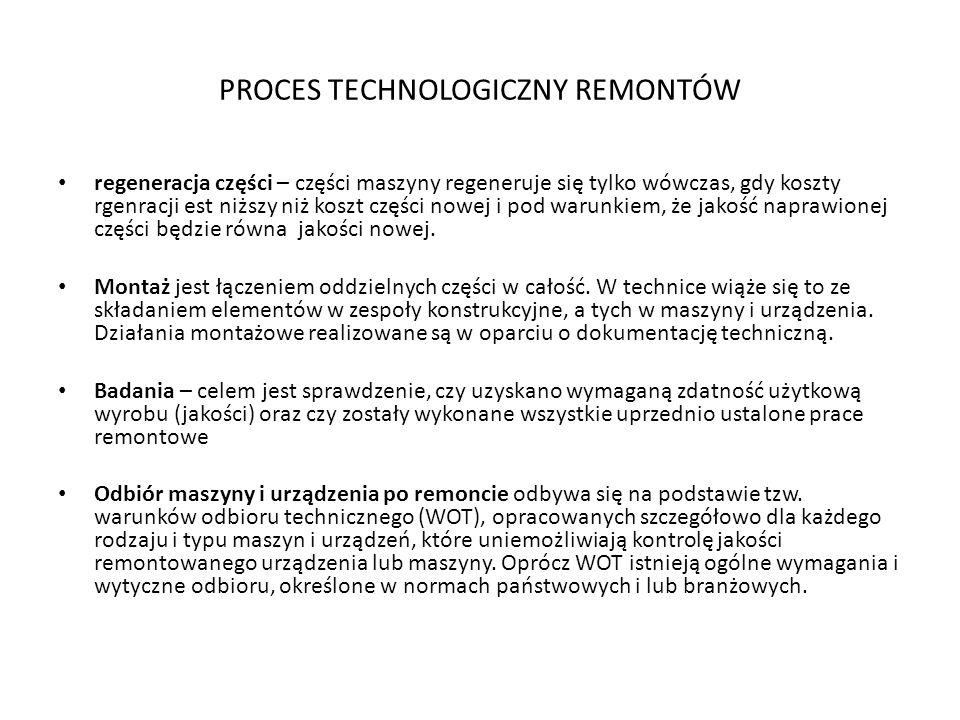 PROCES TECHNOLOGICZNY REMONTÓW regeneracja części – części maszyny regeneruje się tylko wówczas, gdy koszty rgenracji est niższy niż koszt części nowe