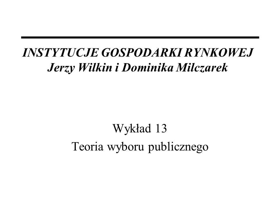 INSTYTUCJE GOSPODARKI RYNKOWEJ Jerzy Wilkin i Dominika Milczarek Wykład 13 Teoria wyboru publicznego