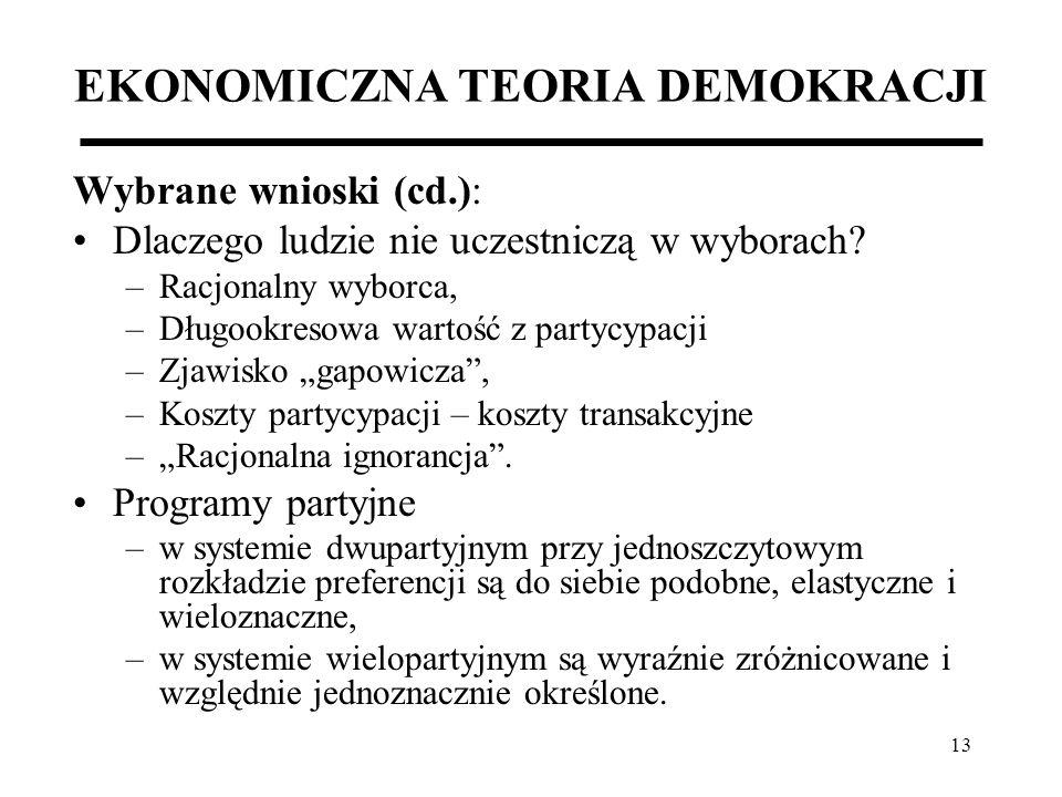 13 EKONOMICZNA TEORIA DEMOKRACJI Wybrane wnioski (cd.): Dlaczego ludzie nie uczestniczą w wyborach? –Racjonalny wyborca, –Długookresowa wartość z part
