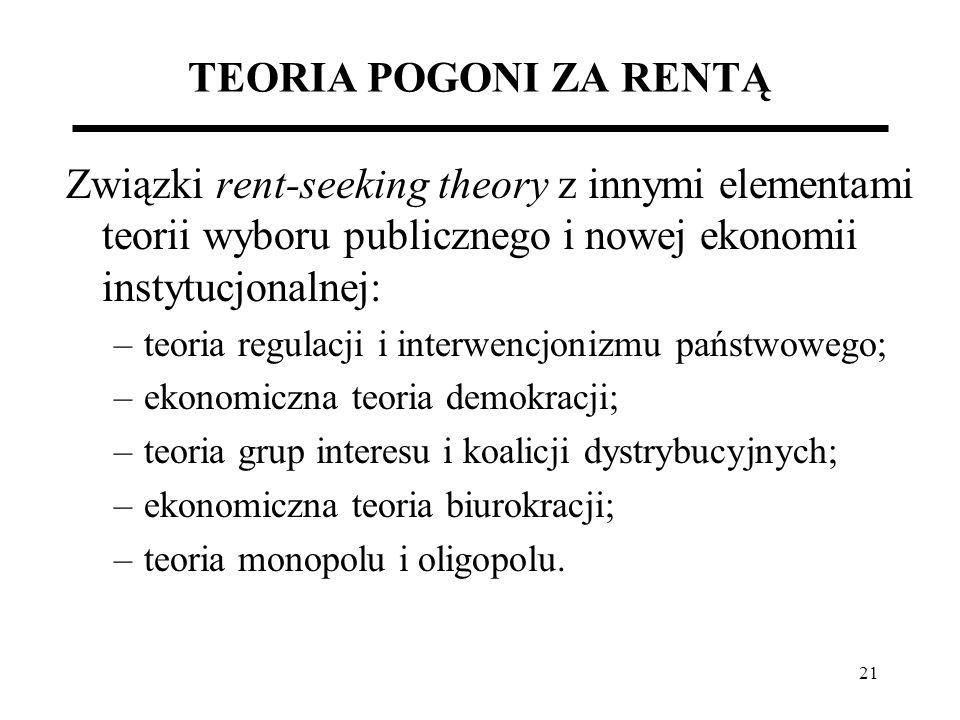 21 TEORIA POGONI ZA RENTĄ Związki rent-seeking theory z innymi elementami teorii wyboru publicznego i nowej ekonomii instytucjonalnej: –teoria regulac