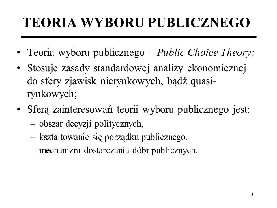 3 TEORIA WYBORU PUBLICZNEGO Teoria wyboru publicznego – Public Choice Theory; Stosuje zasady standardowej analizy ekonomicznej do sfery zjawisk nieryn