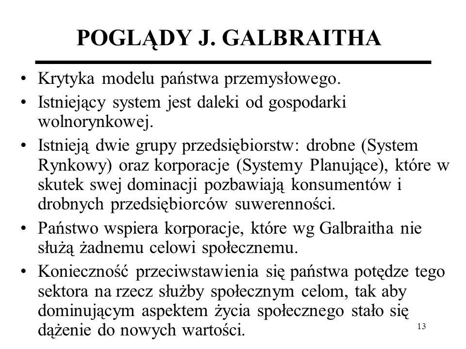 13 POGLĄDY J. GALBRAITHA Krytyka modelu państwa przemysłowego. Istniejący system jest daleki od gospodarki wolnorynkowej. Istnieją dwie grupy przedsię