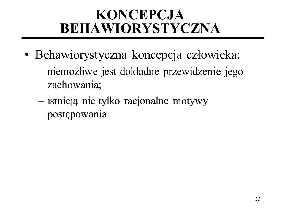 23 KONCEPCJA BEHAWIORYSTYCZNA Behawiorystyczna koncepcja człowieka: –niemożliwe jest dokładne przewidzenie jego zachowania; –istnieją nie tylko racjon