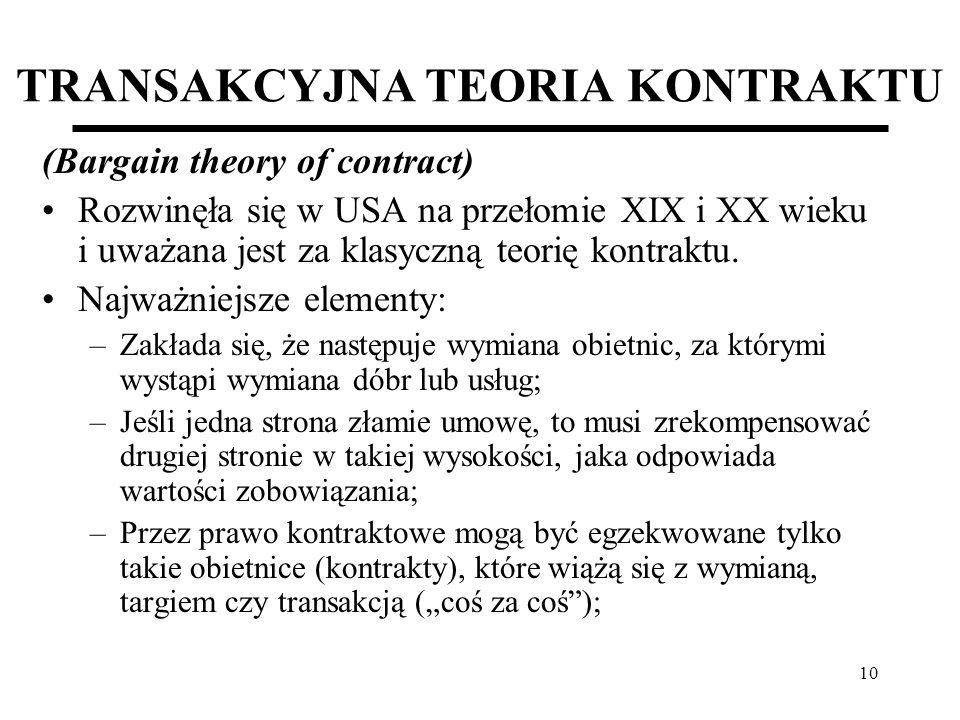 10 TRANSAKCYJNA TEORIA KONTRAKTU (Bargain theory of contract) Rozwinęła się w USA na przełomie XIX i XX wieku i uważana jest za klasyczną teorię kontr