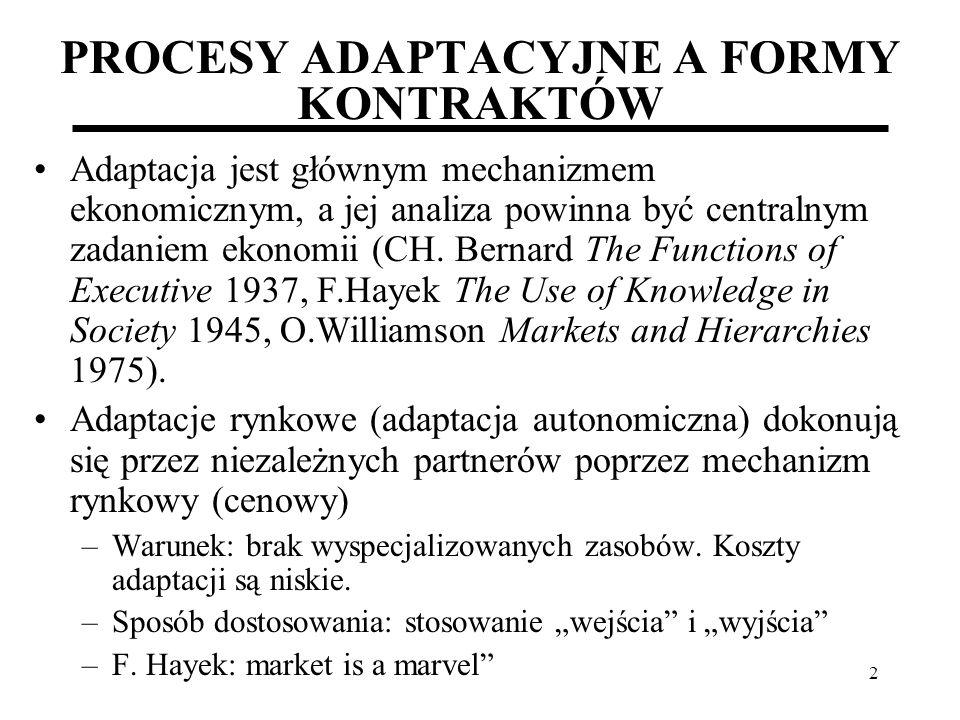 3 PROCESY ADAPTACYJNE A FORMY KONTRAKTÓW Adaptacja kooperacyjna (administracyjna) – poprzez struktury hierarchiczne.