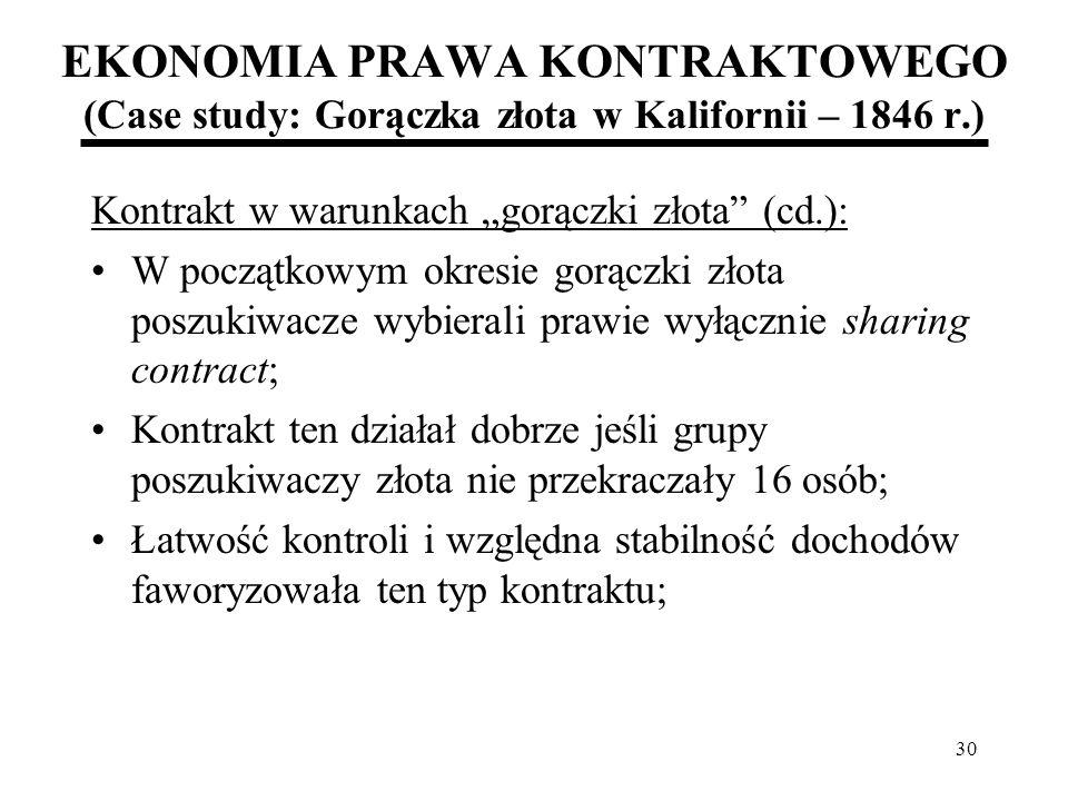 30 EKONOMIA PRAWA KONTRAKTOWEGO (Case study: Gorączka złota w Kalifornii – 1846 r.) Kontrakt w warunkach gorączki złota (cd.): W początkowym okresie g