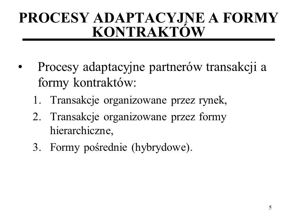 5 PROCESY ADAPTACYJNE A FORMY KONTRAKTÓW Procesy adaptacyjne partnerów transakcji a formy kontraktów: 1.Transakcje organizowane przez rynek, 2.Transak
