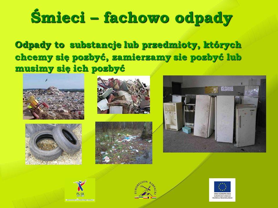 Śmieci – fachowo odpady Odpady to substancje lub przedmioty, których chcemy się pozbyć, zamierzamy sie pozbyć lub musimy się ich pozbyć Śmieci – facho
