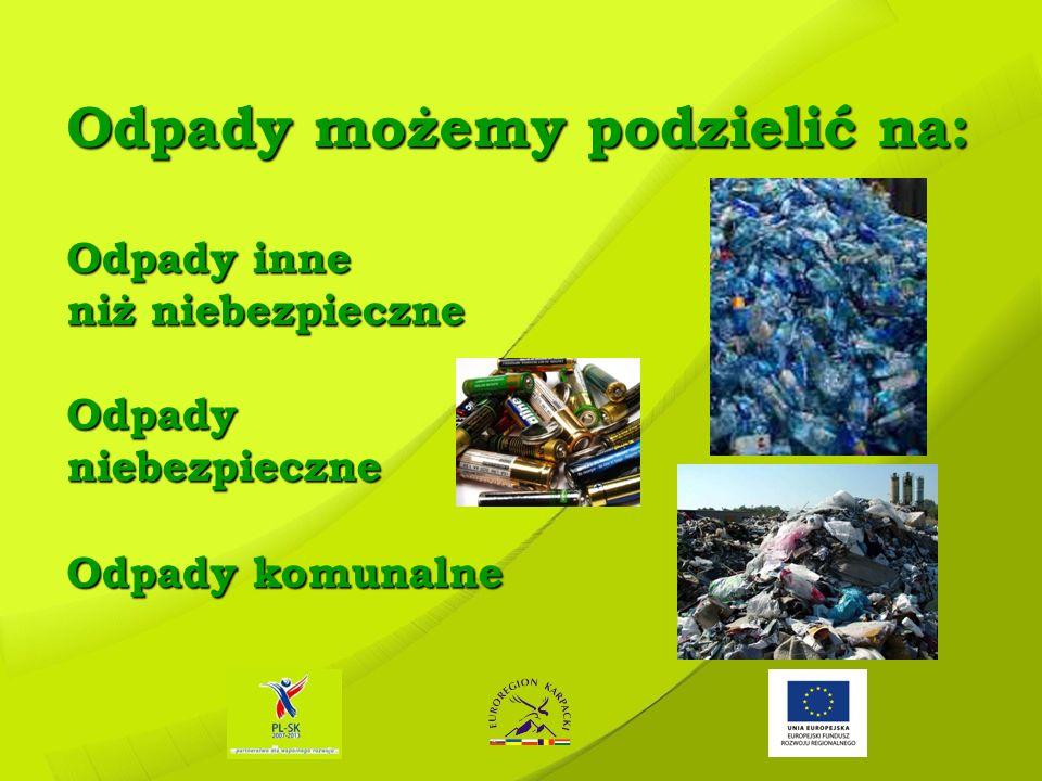 Przykładowe rodzaje odpadów: Przykładowe rodzaje odpadów: ODPADY KOMUNALNE – to odpady powstające w gospodarstwach domowych, BIOODPADY – to odpady, które w naturalny sposób ulegają rozkładowi i powracają do środowiska, są to odpady z terenów zielonych, parków, ogrodów, odpady spożywcze i kuchenne z naszych domostw, ODPADY SEGREGOWANE – to odpady charakteryzujące się takimi samymi właściwościami i takim samym składem, np.