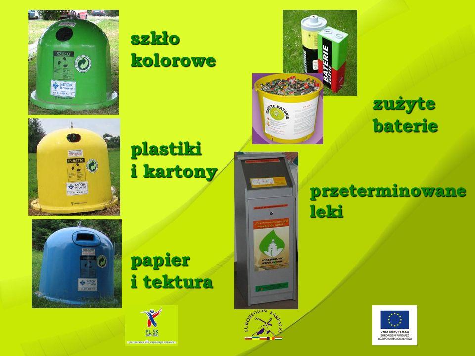szkło kolorowe plastiki i kartony papier i tektura zużyte baterie przeterminowane leki zużyte baterie przeterminowane leki