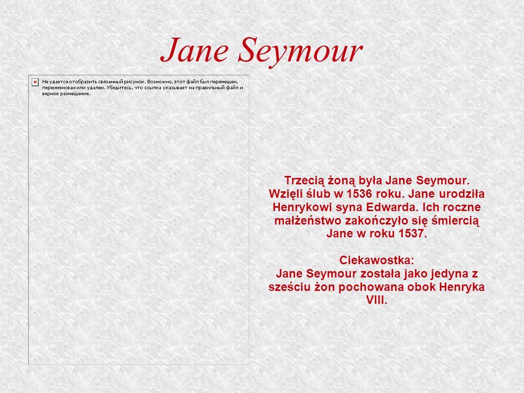 Jane Seymour Trzecią żoną była Jane Seymour.Wzięli ślub w 1536 roku.
