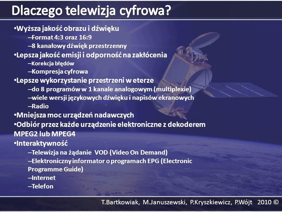 T.Bartkowiak, M.Januszewski, P.Kryszkiewicz, P.Wójt 2010 © Wyższa jakość obrazu i dźwięku – Format 4:3 oraz 16:9 – 8 kanałowy dźwięk przestrzenny Leps