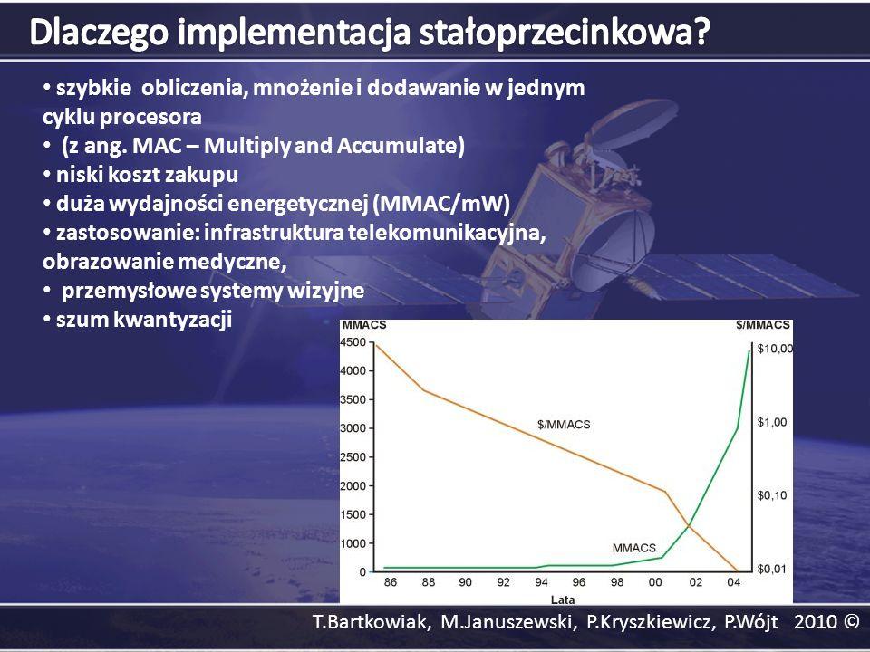 szybkie obliczenia, mnożenie i dodawanie w jednym cyklu procesora (z ang. MAC – Multiply and Accumulate) niski koszt zakupu duża wydajności energetycz
