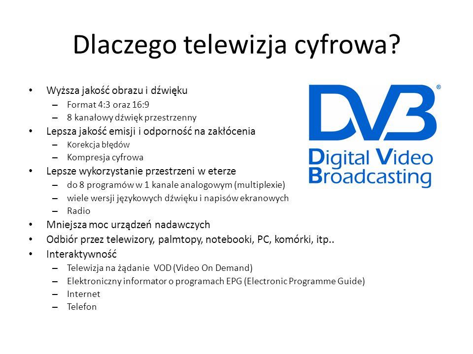 DVB-S System Telewizji Satelitarnej Najbardziej popularna i najłatwiejsza forma odbioru telewizji cyfrowej Niższe koszty przesyłu i lepsza jakość Dostęp do kilkuset darmowych programów telewizyjnych Mała wrażliwość na zakłócenia Dostęp ogólnoświatowy – Dla Polski 2 pozycje satelit: Hot Bird 13E i Astra 19,2 E Dominacja 3 operatorów – Cyfra + – Cyfrowy Polsat – Telewizja N (ITI Neovision) Telewizja analogowa do 17 maja 2015