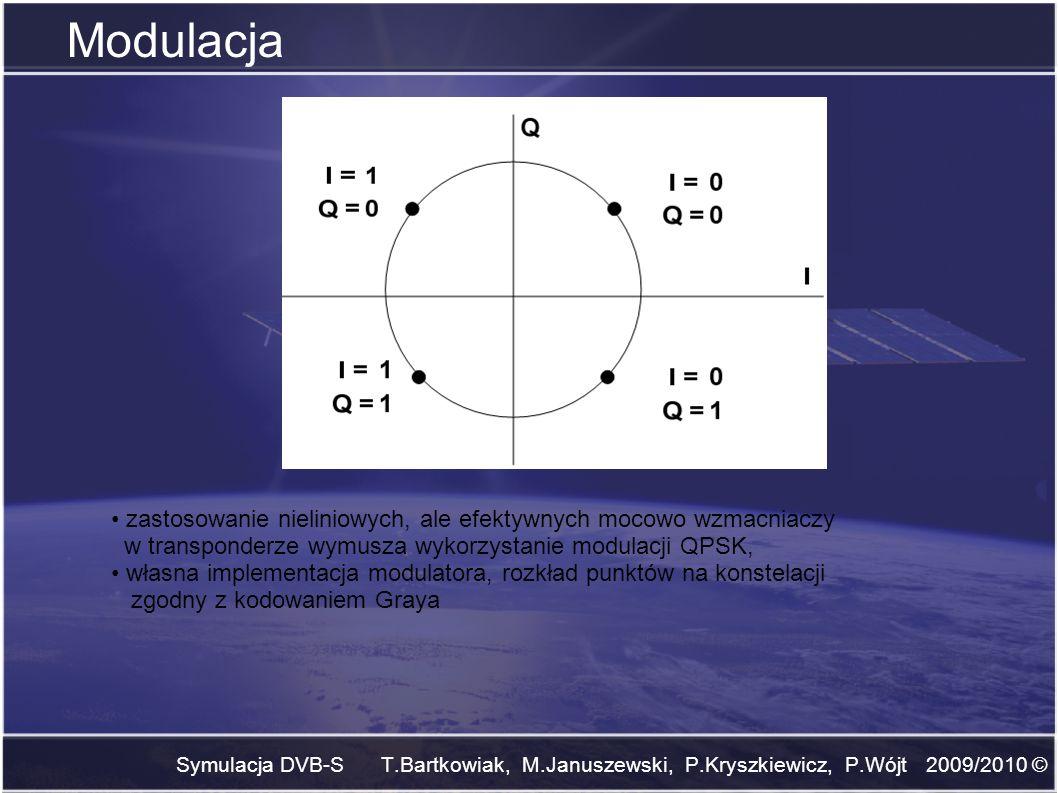 Symulacja DVB-S T.Bartkowiak, M.Januszewski, P.Kryszkiewicz, P.Wójt 2009/2010 © Przeplot blokowy Funkcje: zmiana kolejności uporządkowania bitów, rozrywa paczki błędów powstałych w kanale wprowadza duże opóźnienie w funkcjonowaniu systemu, implementacja determinuje szybkość systemu wykorzystanie przeplotu wprowadza zysk rzędu 0,1 dB