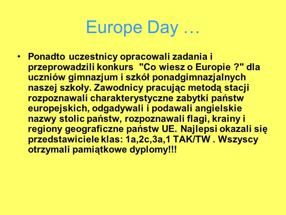 Europe Day … Ponadto uczestnicy opracowali zadania i przeprowadzili konkurs Co wiesz o Europie dla uczniów gimnazjum i szkół ponadgimnazjalnych naszej szkoły.