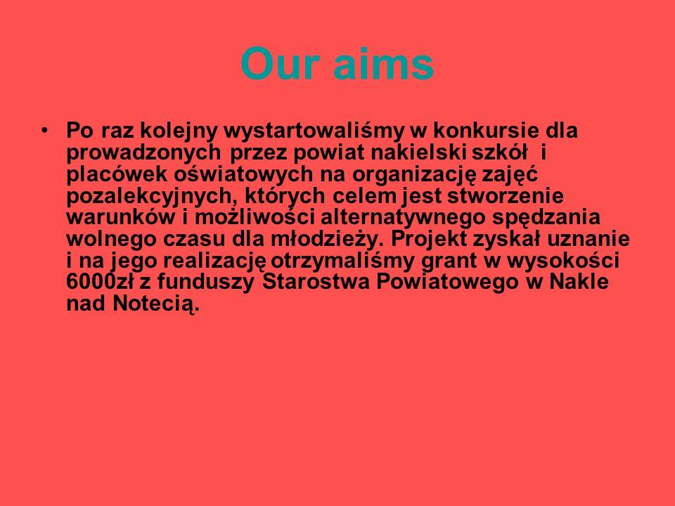 Our aims Po raz kolejny wystartowaliśmy w konkursie dla prowadzonych przez powiat nakielski szkół i placówek oświatowych na organizację zajęć pozalekcyjnych, których celem jest stworzenie warunków i możliwości alternatywnego spędzania wolnego czasu dla młodzieży.