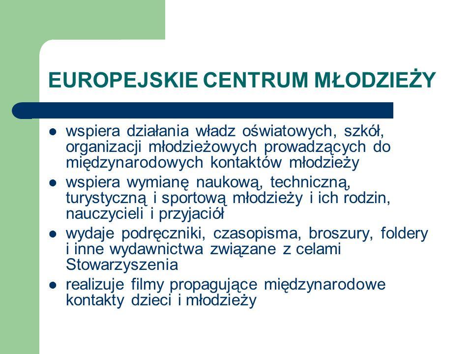 EUROPEJSKIE CENTRUM MŁODZIEŻY organizuje i prowadzi kursy, szkolenia, sympozja, seminaria, konkursy, przeglądy i inne formy propagowania szeroko rozumianych kontaktów młodzieżowych przyznaje w miarę posiadanych środków stypendia i nagrody szczególnie uzdolnionej młodzieży promuje Łódź poza granicami kraju, a inne miasta Europy w Polsce