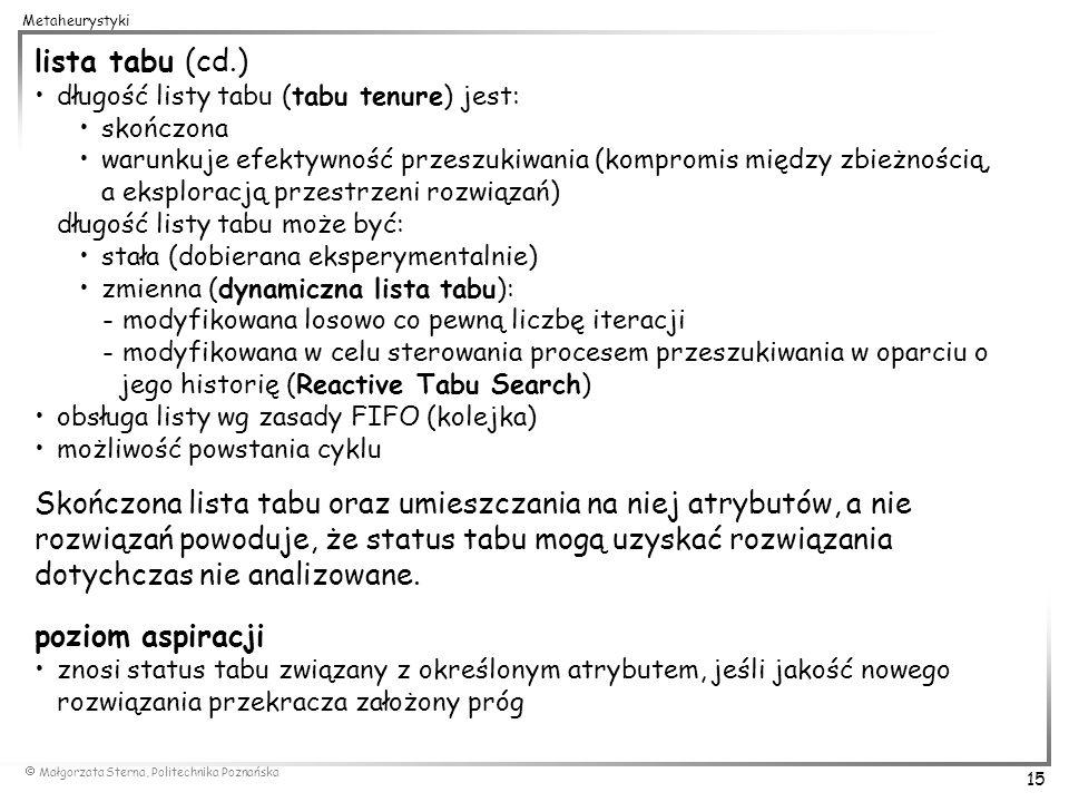 Małgorzata Sterna, Politechnika Poznańska 15 Metaheurystyki lista tabu (cd.) długość listy tabu (tabu tenure) jest: skończona warunkuje efektywność pr