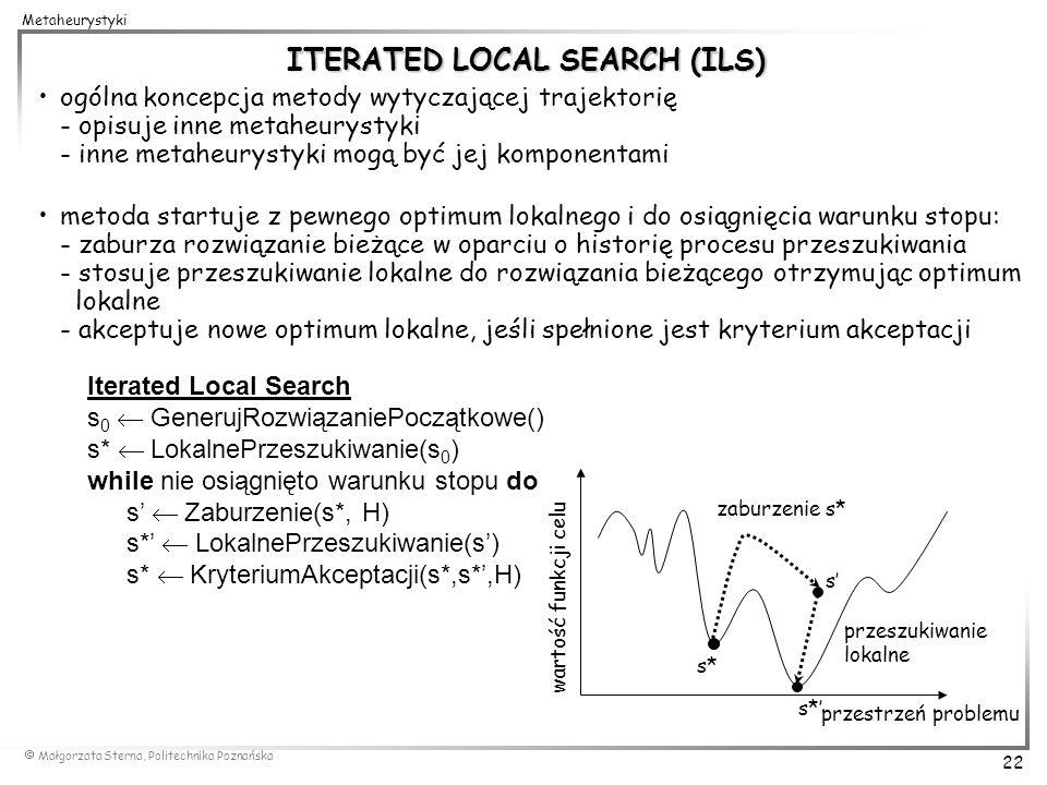 Małgorzata Sterna, Politechnika Poznańska 22 Metaheurystyki ITERATED LOCAL SEARCH (ILS) ogólna koncepcja metody wytyczającej trajektorię - opisuje inn