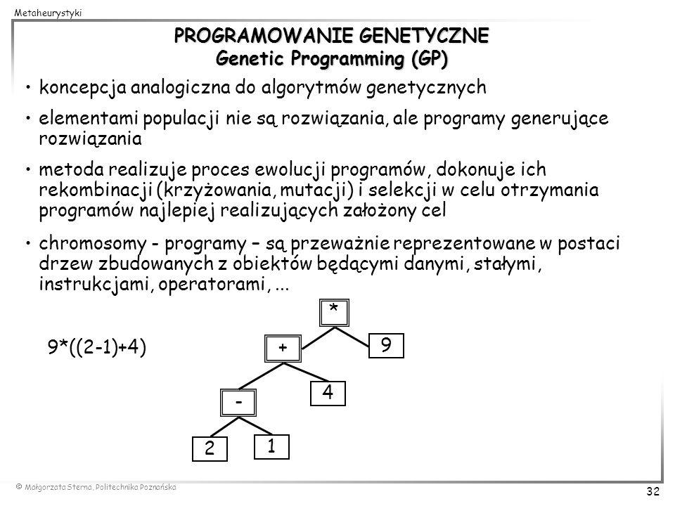Małgorzata Sterna, Politechnika Poznańska 32 Metaheurystyki PROGRAMOWANIE GENETYCZNE Genetic Programming (GP) koncepcja analogiczna do algorytmów gene