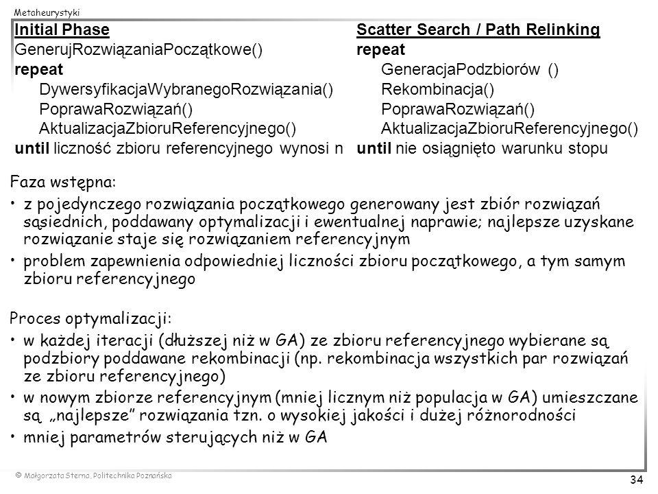Małgorzata Sterna, Politechnika Poznańska 34 Metaheurystyki Faza wstępna: z pojedynczego rozwiązania początkowego generowany jest zbiór rozwiązań sąsi