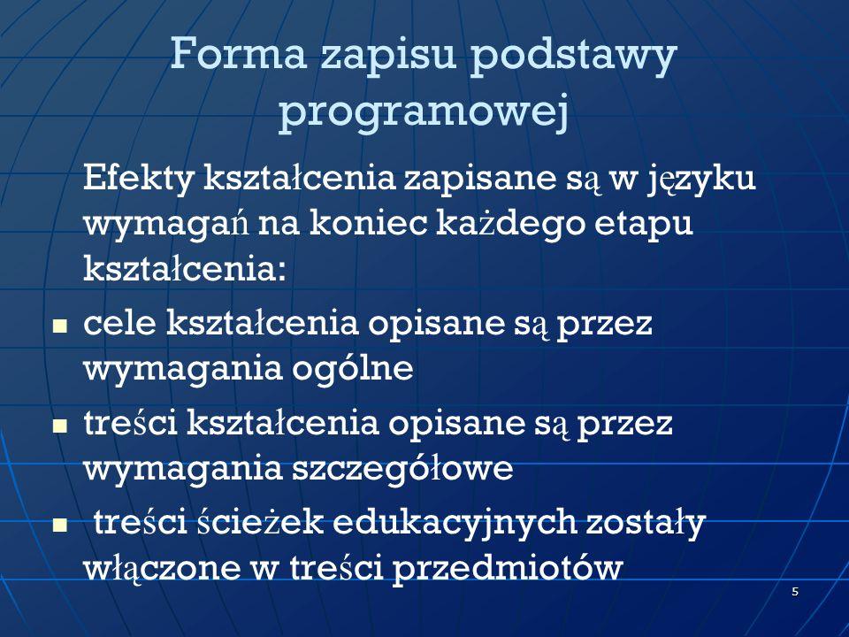 6 Stara podstawa (fragment)Nowa podstawa (fragment) Cele edukacyjne 1.