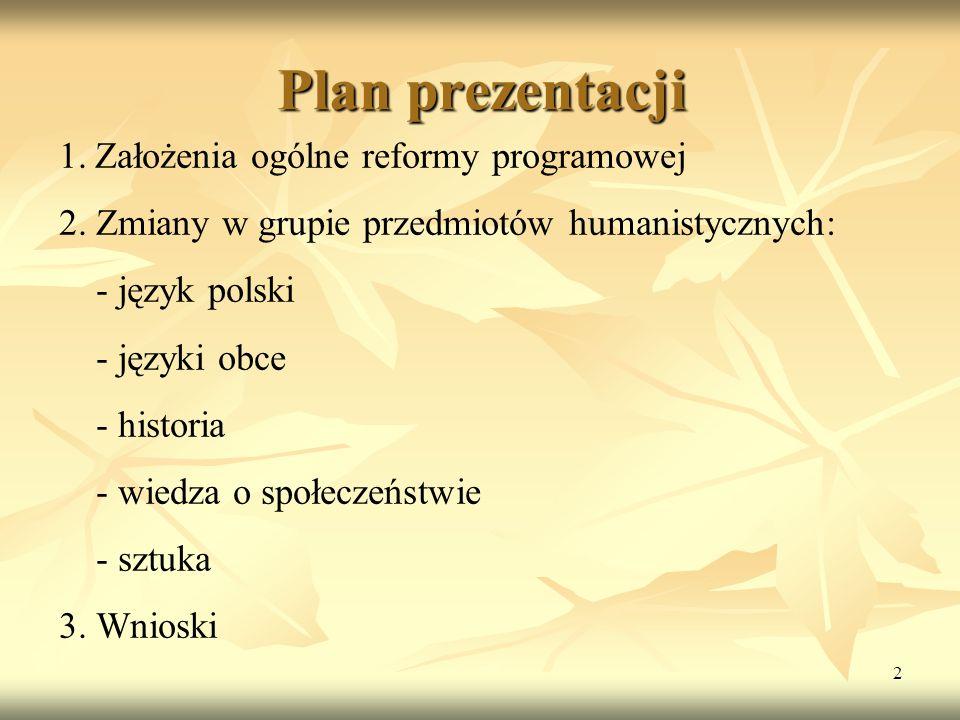 2 Plan prezentacji 1.Założenia ogólne reformy programowej 2. Zmiany w grupie przedmiotów humanistycznych: - język polski - języki obce - historia - wi