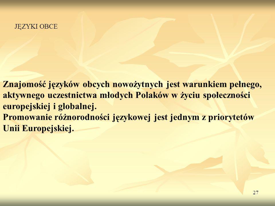 27 Znajomość języków obcych nowożytnych jest warunkiem pełnego, aktywnego uczestnictwa młodych Polaków w życiu społeczności europejskiej i globalnej.