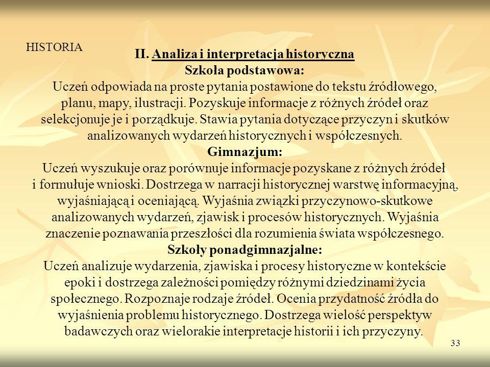 33 II. Analiza i interpretacja historyczna Szkoła podstawowa: Uczeń odpowiada na proste pytania postawione do tekstu źródłowego, planu, mapy, ilustrac
