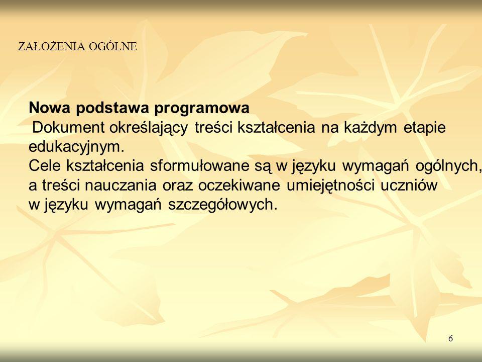 6 Nowa podstawa programowa Dokument określający treści kształcenia na każdym etapie edukacyjnym. Cele kształcenia sformułowane są w języku wymagań ogó