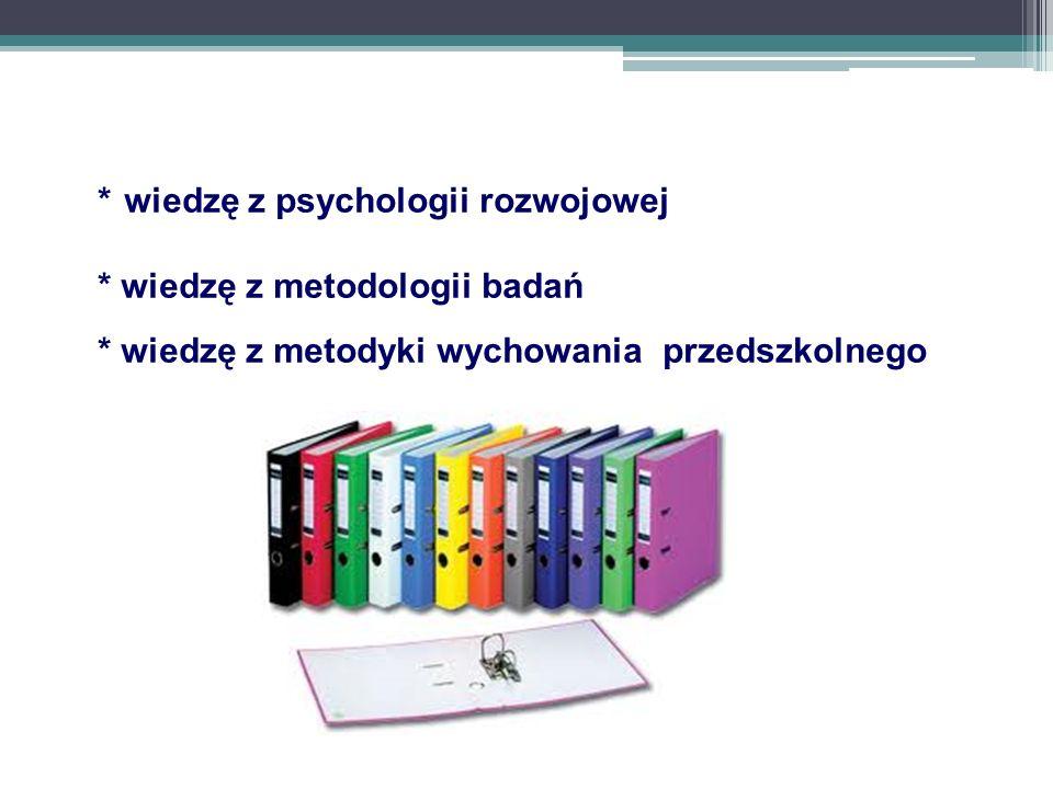 * wiedzę z psychologii rozwojowej * wiedzę z metodologii badań * wiedzę z metodyki wychowania przedszkolnego
