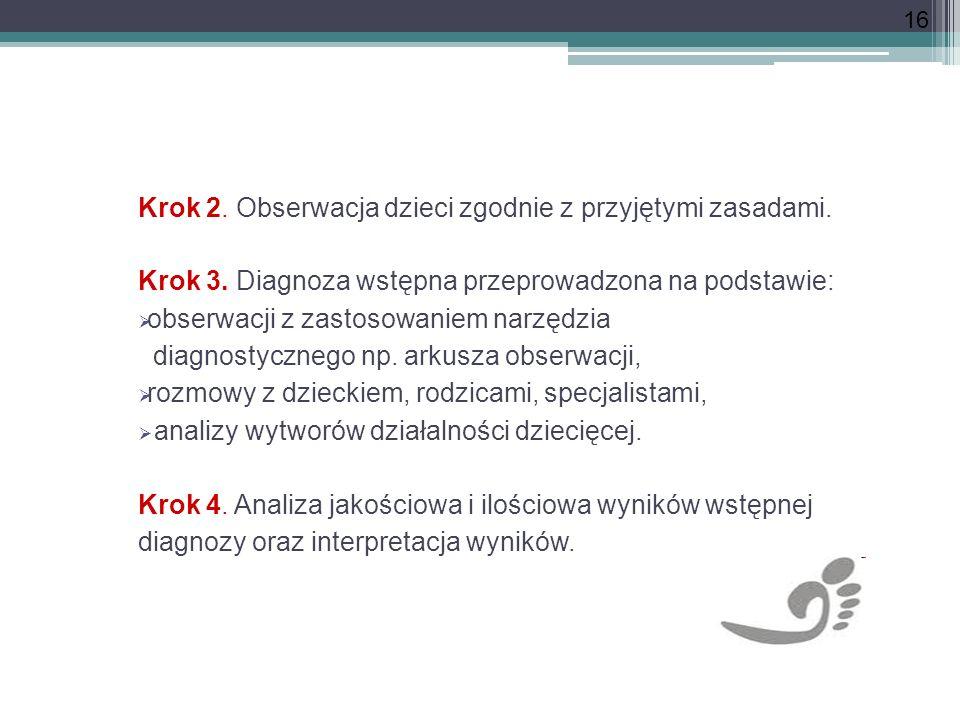 16 Krok 2. Obserwacja dzieci zgodnie z przyjętymi zasadami. Krok 3. Diagnoza wstępna przeprowadzona na podstawie: obserwacji z zastosowaniem narzędzia