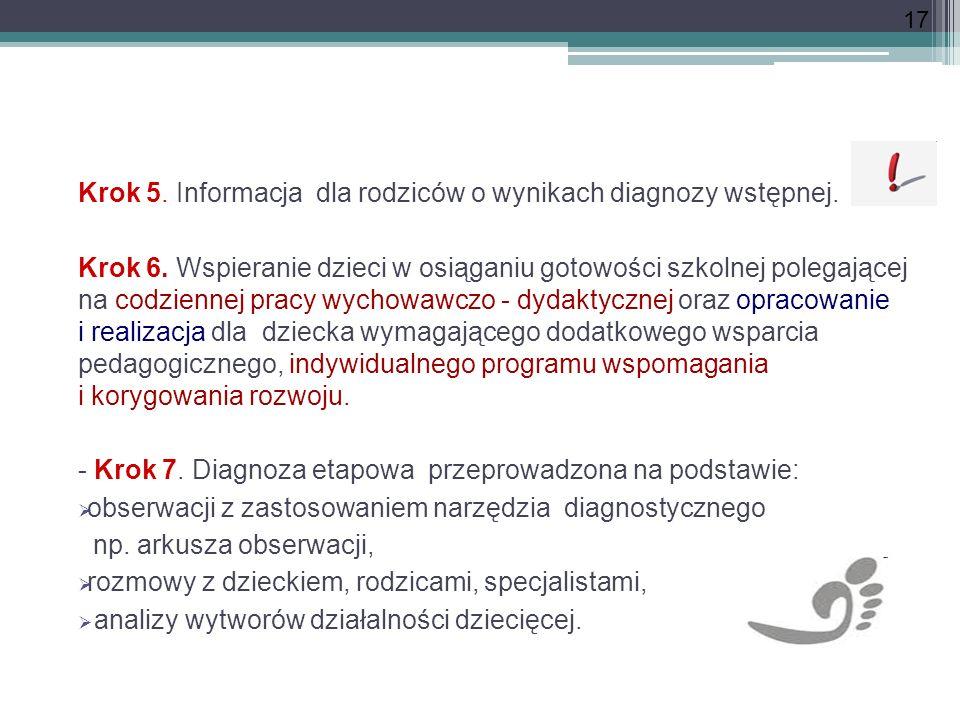 17 Krok 5. Informacja dla rodziców o wynikach diagnozy wstępnej. Krok 6. Wspieranie dzieci w osiąganiu gotowości szkolnej polegającej na codziennej pr