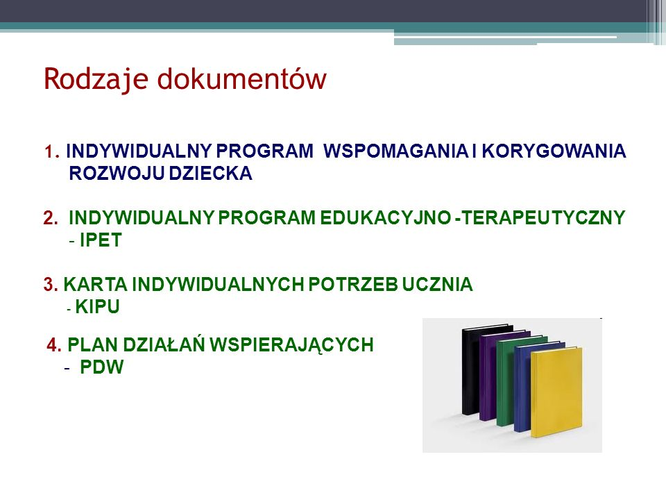 Rodzaje dokumentów 1. INDYWIDUALNY PROGRAM WSPOMAGANIA I KORYGOWANIA ROZWOJU DZIECKA 2. INDYWIDUALNY PROGRAM EDUKACYJNO -TERAPEUTYCZNY - IPET 3. KARTA