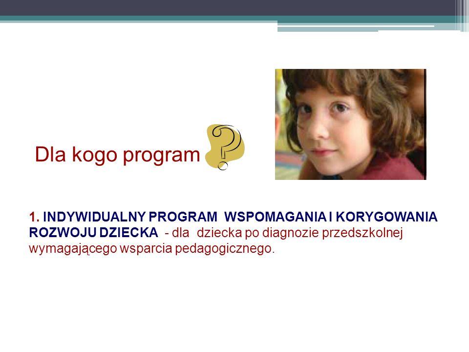 Dla kogo program 1. INDYWIDUALNY PROGRAM WSPOMAGANIA I KORYGOWANIA ROZWOJU DZIECKA - dla dziecka po diagnozie przedszkolnej wymagającego wsparcia peda