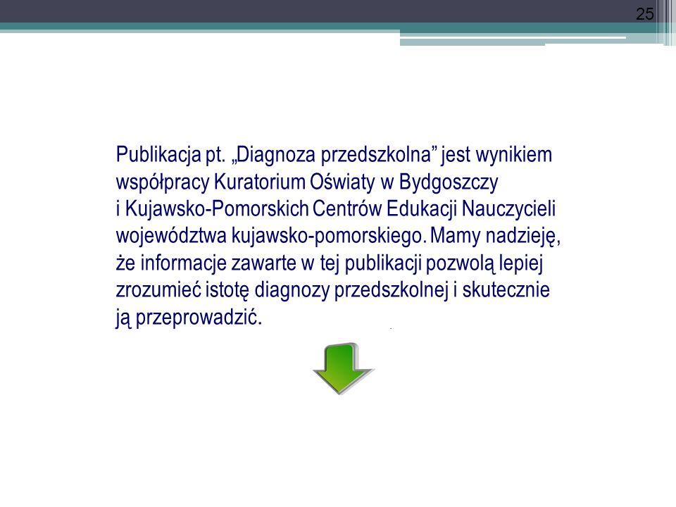25 Publikacja pt. Diagnoza przedszkolna jest wynikiem współpracy Kuratorium Oświaty w Bydgoszczy i Kujawsko-Pomorskich Centrów Edukacji Nauczycieli wo