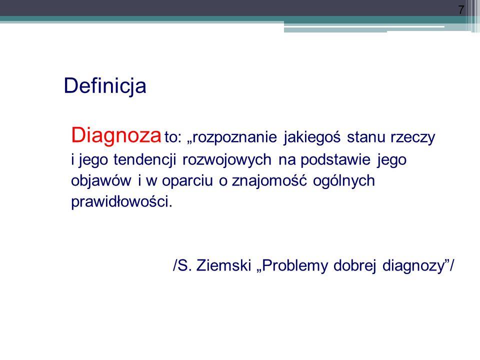 7 Diagnoza to: rozpoznanie jakiegoś stanu rzeczy i jego tendencji rozwojowych na podstawie jego objawów i w oparciu o znajomość ogólnych prawidłowości