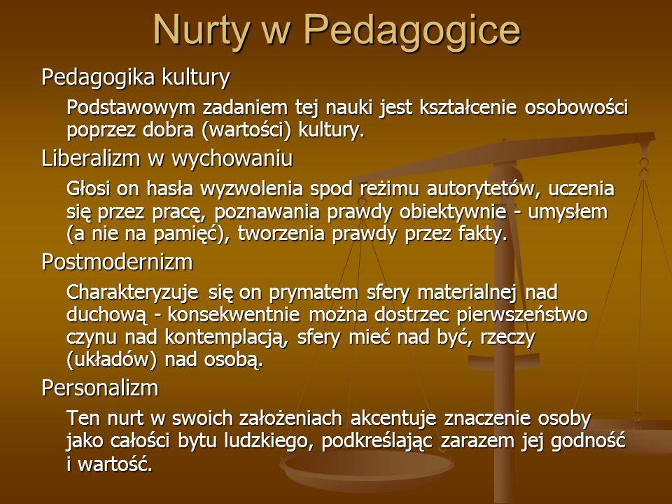 Nurty w Pedagogice Pedagogika kultury Podstawowym zadaniem tej nauki jest kształcenie osobowości poprzez dobra (wartości) kultury. Liberalizm w wychow