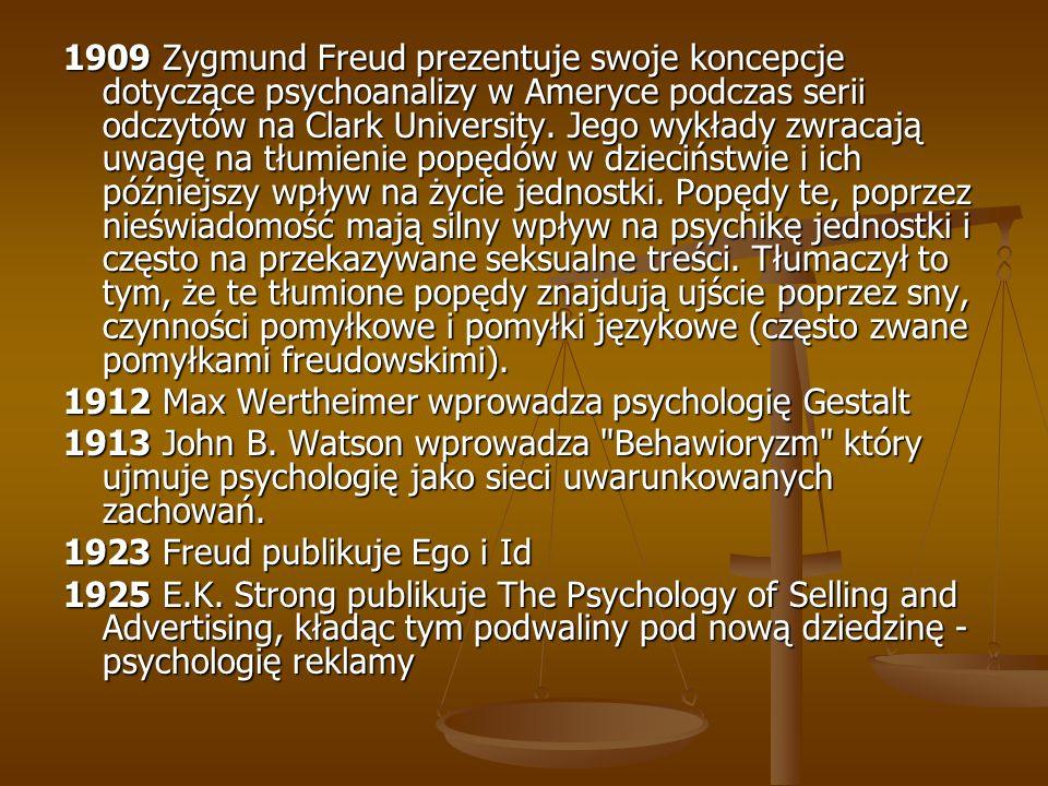 1909 Zygmund Freud prezentuje swoje koncepcje dotyczące psychoanalizy w Ameryce podczas serii odczytów na Clark University. Jego wykłady zwracają uwag